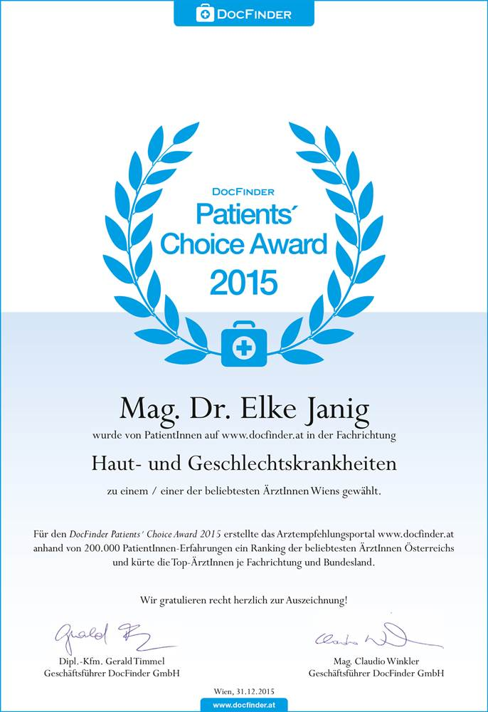 Patients`Choice Award 2015 | Dr. Elke Janig