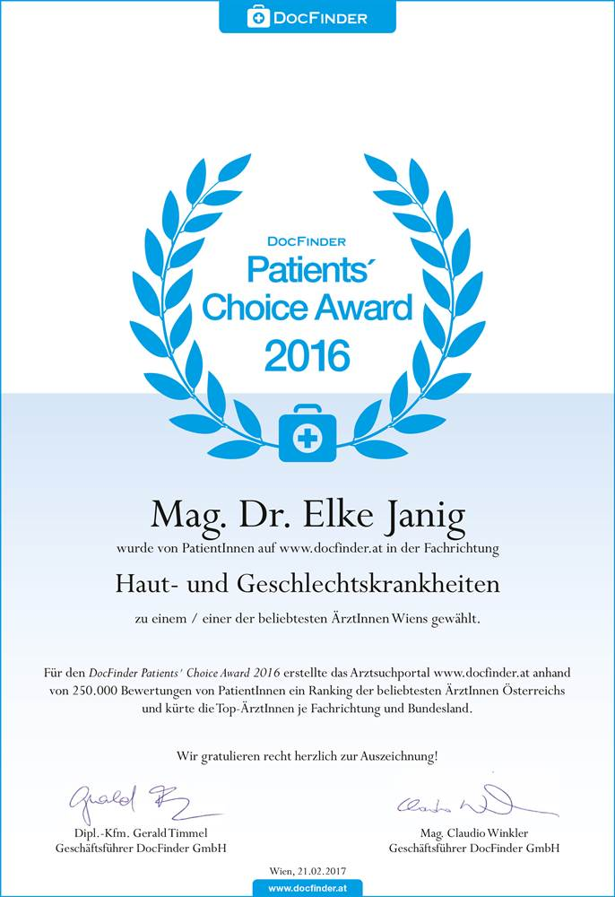 Patients`Choice Award 2016 | Dr. Elke Janig