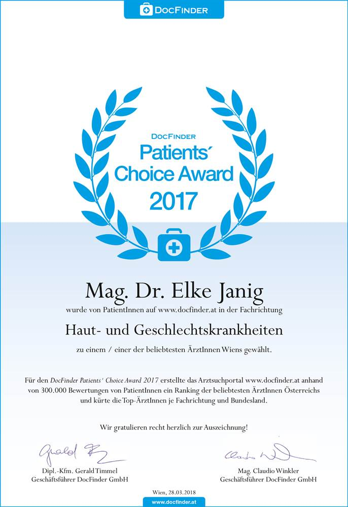Patients`Choice Award 2017 | Dr. Elke Janig